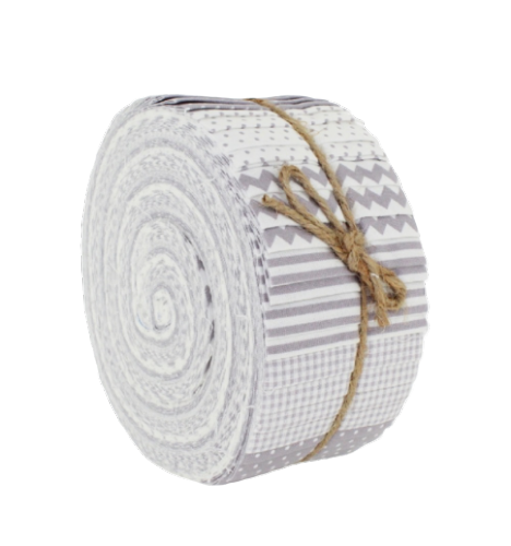 "Basic Essentials Strippers 'Jelly Roll' Grey FJBE8 (40, 2.5"" x 44"" strips of patchwork fabric)"